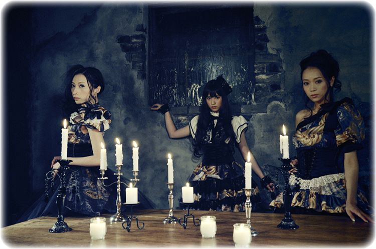 Tags: J-Pop, Kalafina, Wakana Ootaki, Hikaru Masai, Keiko Kubota, Side Tail, Bracelet, Night, Blunt Bangs, Ponytail, Candle, Short Sleeves