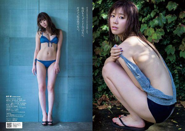 Tags: J-Pop, SKE48, Kaneko Shiori, Back, Shorts, Multiple Persona, Bare Legs, Blue Background, Japanese Text, Swimsuit, High Heels, Hand On Shoulder