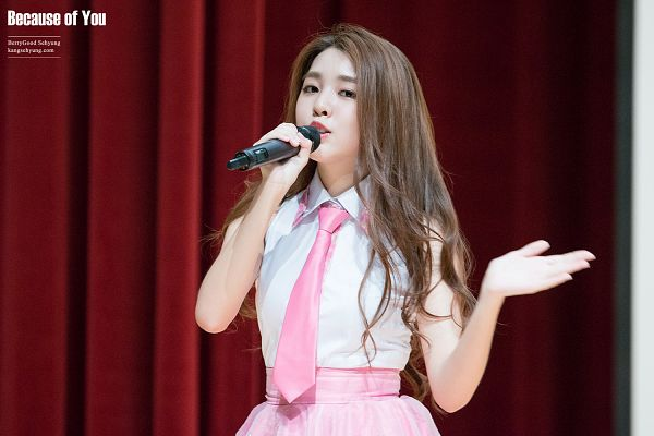 Tags: K-Pop, Berry Good, Kang Sehyung, Pink Skirt, Sleeveless, Sleeveless Shirt, Microphone, Pink Neckwear, Tie, Bare Shoulders, Black Eyes, Skirt