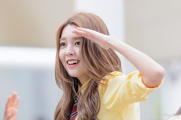 Tags: K-Pop, Berry Good, Kang Sehyung, Grin, Wavy Hair, Striped Neckwear, Tie, Salute, Black Eyes, Striped, Yellow Shirt
