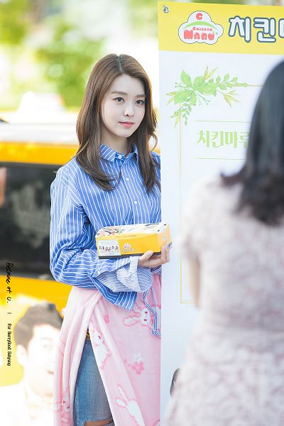 Tags: K-Pop, Berry Good, Kang Sehyung, Closed Mouth, Blue Pants, Striped Shirt, Pants, Apron, Jeans, Striped, Blue Shirt
