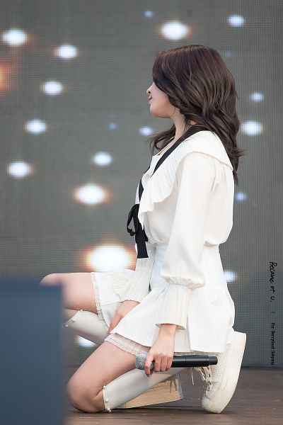 Tags: K-Pop, Berry Good, Kang Sehyung, Skirt, White Footwear, White Legwear, Ring, White Skirt, Kneeling, Wavy Hair, Stage