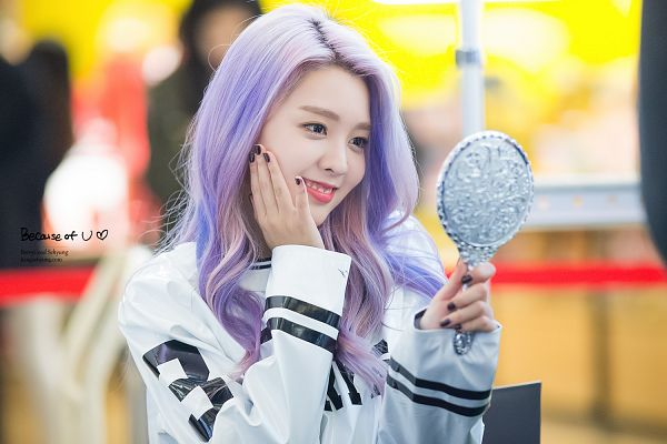 Tags: K-Pop, Berry Good, Kang Sehyung, Mirror, Purple Hair, Glass, Bent Knees, Looking At Reflection, Make Up, Hand On Cheek, Hand On Head, Black Eyes