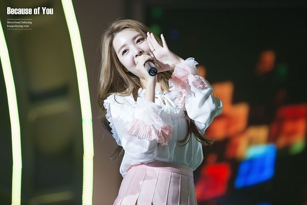 Tags: K-Pop, Berry Good, Kang Sehyung, Head Tilt, Ring, Pink Skirt, Wavy Hair, Microphone, Stage, Skirt, Singing