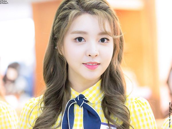Tags: K-Pop, Berry Good, Kang Sehyung, Grin, Wavy Hair, Blue Neckwear, Black Eyes, Braids, Yellow Shirt
