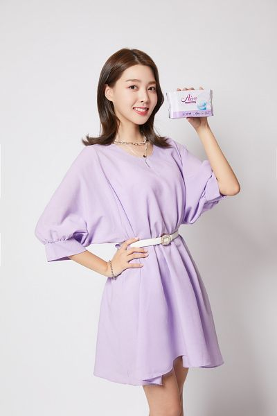 Tags: K-Pop, Berry Good, Kang Sehyung, Belt, Necklace, Bracelet, Purple Dress, Grin, Purple Outfit, Hand On Hip, Aire