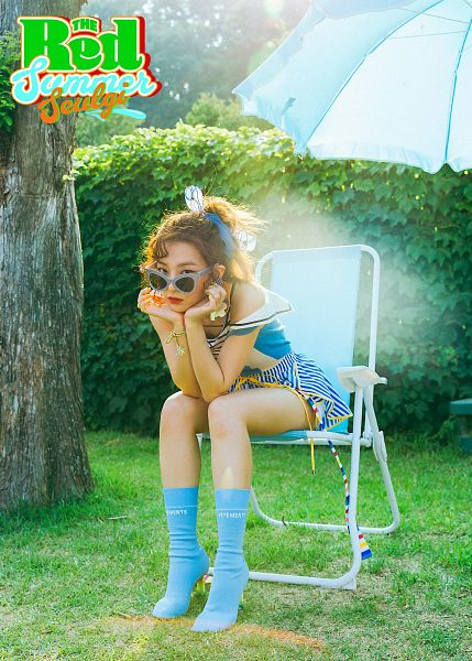 Tags: SM Town, K-Pop, Red Velvet, Kang Seul-gi, Chair, Full Body, High Heeled Boots, Text: Artist Name, Sleeveless, Plant, Boots, Sitting