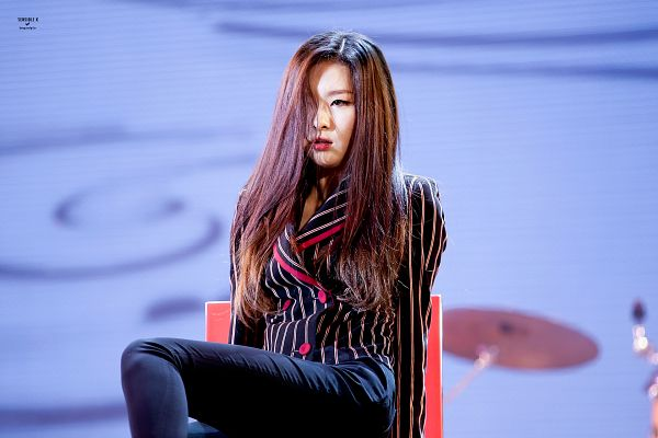 Tags: K-Pop, Red Velvet, Be Natural, Kang Seul-gi, Chair, Striped, Looking Ahead, Black Pants, Striped Jacket, Black Jacket, Black Outerwear, Sitting On Chair