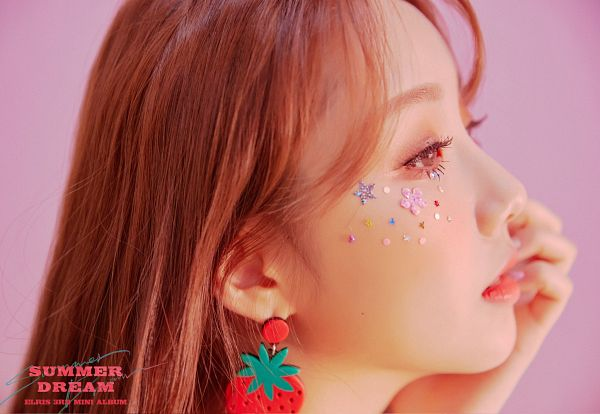Tags: K-Pop, Elris, Karin, Blush (Make Up), Text: Song Title, Text: Artist Name, Side View, Text: Album Name, Chin In Hand, Pink Background, Close Up, Make Up