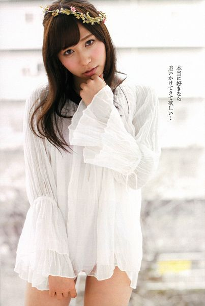 Tags: J-Pop, AKB48, Kasai Tomomi, Bare Legs, White Outfit, Crown, Japanese Text, Light Background, Flower, Flower Crown, White Background, White Dress