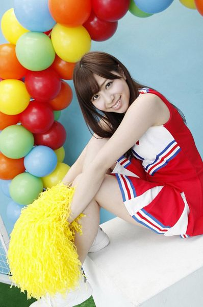 Tags: J-Pop, AKB48, Kasai Tomomi, Blue Background, Skirt, Balloons, Grin, Bare Shoulders, Red Outfit, Sleeveless, Pleated Skirt, Cheerleader