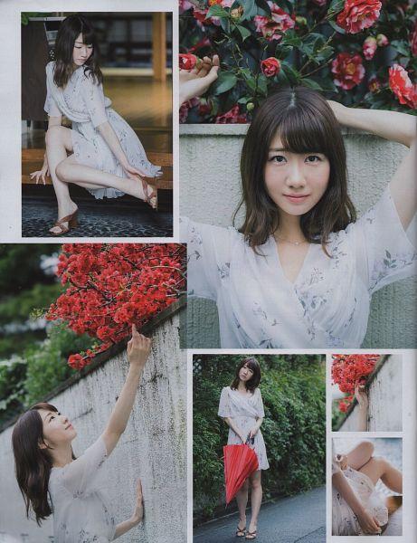 Tags: J-Pop, NGT48, AKB48, Kashiwagi Yuki, Tree, High Heels, Plant, Short Sleeves, Flower, Umbrella, White Outfit, Looking Up