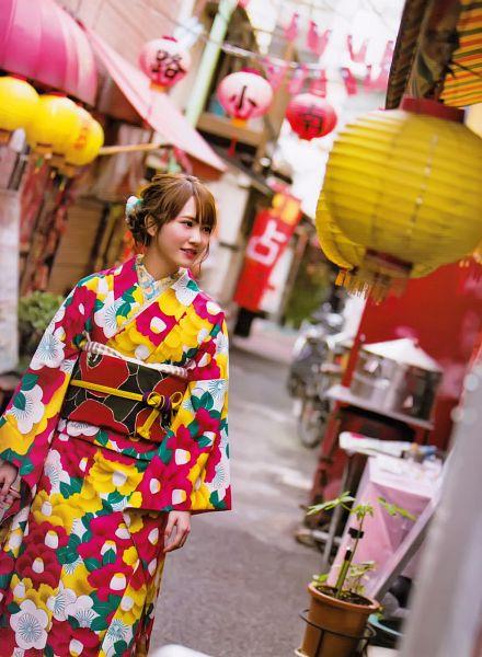 Tags: J-Pop, Keyakizaka46, Kato Shiho, Blunt Bangs, Kimono, Road, Traditional Clothes, Multi-colored Dress, Wide Sleeves, Hair Up, Tokyo News Mook, Scan