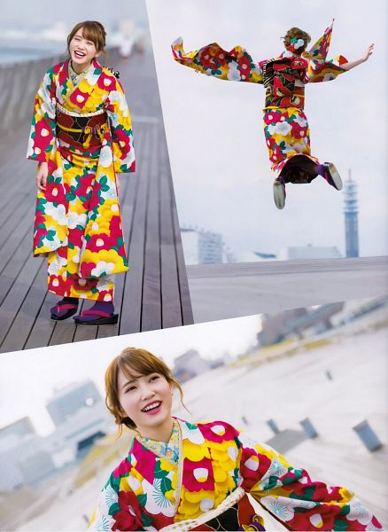 Tags: J-Pop, Keyakizaka46, Kato Shiho, Wide Sleeves, Jumping, Collage, Arms Up, Looking Up, Hair Up, Kimono, Blunt Bangs, Multi-colored Dress