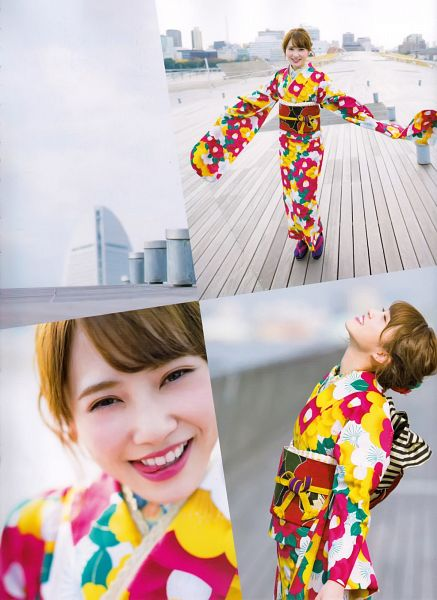 Tags: J-Pop, Keyakizaka46, Kato Shiho, Traditional Clothes, Wide Sleeves, Collage, Arms Up, Looking Up, Hair Up, Kimono, Blunt Bangs, Multi-colored Dress