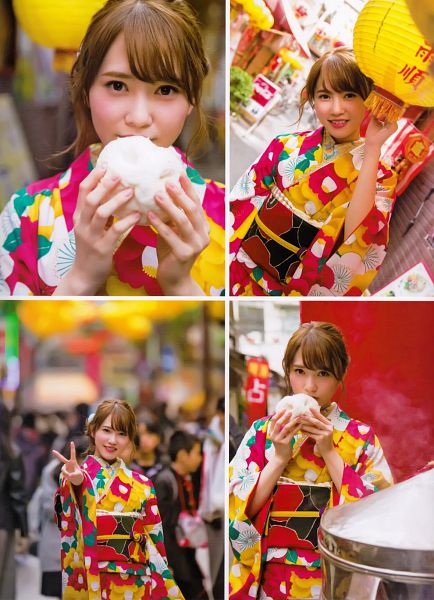 Tags: J-Pop, Keyakizaka46, Kato Shiho, Multi-colored Dress, Traditional Clothes, Blunt Bangs, Food, Covering Mouth, Arms Up, V Gesture, Holding Object, Collage