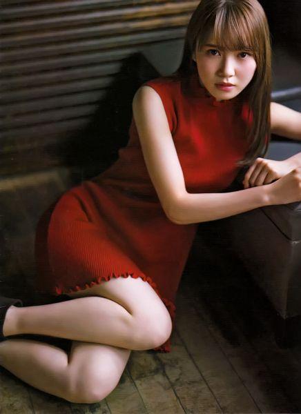Tags: J-Pop, Keyakizaka46, Kato Shiho, Sitting On Ground, Sleeveless Dress, Blunt Bangs, Turtleneck, Red Outfit, Sleeveless, Collar (Clothes), Bare Shoulders, Bare Legs