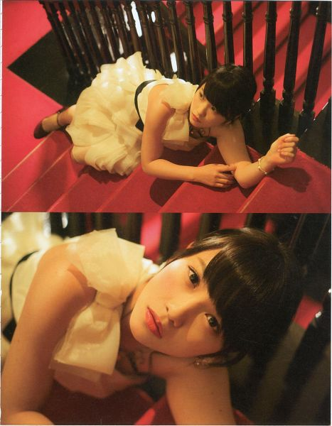 Tags: J-Pop, AKB48, Kawaei Rina, Stairs, White Outfit, White Dress, Android/iPhone Wallpaper, Magazine Scan