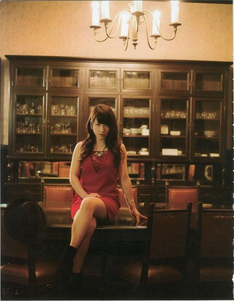 Tags: J-Pop, AKB48, Kawaei Rina, Sitting, Red Dress, Bent Knees, Magazine Scan, Android/iPhone Wallpaper