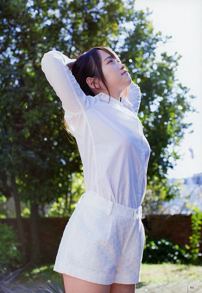 Tags: J-Pop, AKB48, Kawaei Rina, Arms Up, Looking Down, White Outfit, Looking Up, Shorts, Bare Legs, White Shorts, Tree, Outdoors