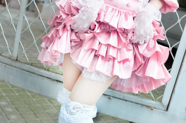 Tags: Kazumi, Suggestive, Face Cut Off, Pink Skirt, Lifting Skirt, White Gloves, White Legwear, Thigh Highs, Pink Outfit, Skirt, Wallpaper