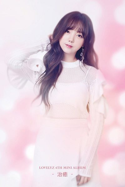 Tags: K-Pop, Lovelyz, Kei, Blunt Bangs, Light Background, White Dress, Text: Artist Name, White Outfit, Text: Album Name, English Text, Chinese Text, Wallpaper