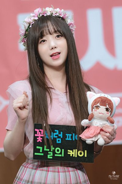 Tags: K-Pop, Lovelyz, Kei, Short Sleeves, Hair Ornament, Crown, Pink Outfit, Stuffed Toy, Skirt, Flower Crown, Holding Object, Toy