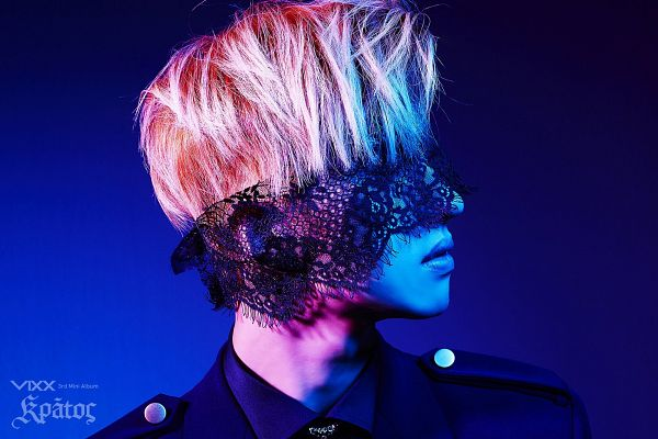 Tags: K-Pop, VIXX, Ken, Eyes Closed, Covering Eyes, Lace, Text: Artist Name, Close Up, Text: Album Name, Blindfold, Blue Background, Wallpaper