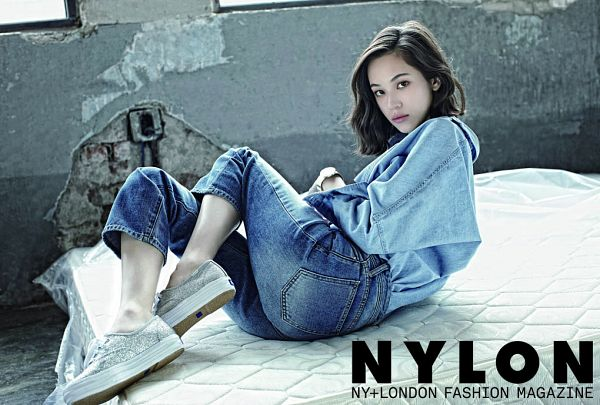 Tags: J-Pop, Kiko Mizuhara, White Footwear, Jeans, Text: Magazine Name, On Bed, Bed, Denim Jacket, Medium Hair, Nylon