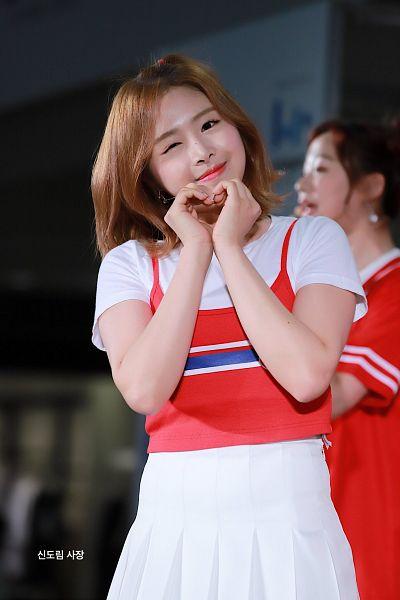 Tags: DSP Media, K-Pop, April, Kim Chaewon (April), Heart Gesture, Red Shirt, Skirt, Short Sleeves, Wink, White Skirt, Live Performance