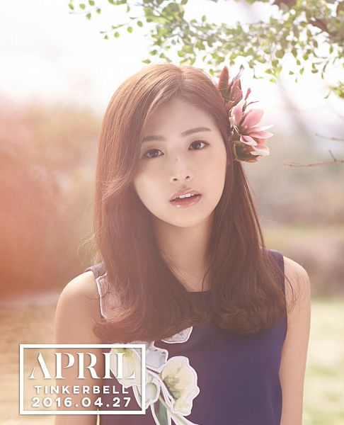 Tags: K-Pop, April, Kim Chaewon (April), Hair Flower, Bare Shoulders, Tree, Flower, Plant, Text: Calendar Date, Sleeveless Dress, Text: Song Title, Hair Ornament