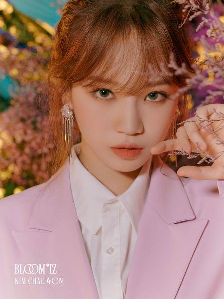 Tags: K-Pop, IZ*ONE, Kim Chaewon, Pink Jacket, Text: Artist Name, Text: Album Name, Serious, Plant, Pink Outerwear