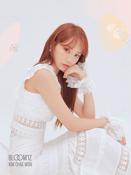 Tags: K-Pop, IZ*ONE, Kim Chaewon, White Outfit, Red Hair, Hand On Cheek, Serious, Light Background, Hand On Head, White Background, White Dress