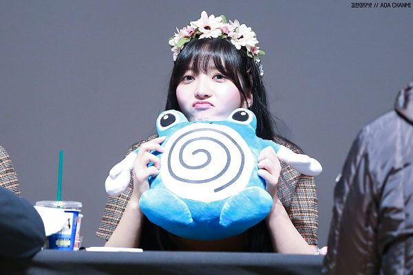 Tags: K-Pop, AOA (Ace Of Angels), Kim Chanmi, Looking Ahead, Stuffed Toy, Crown, Flower Crown, Pouting, Chair, Toy, Hair Ornament, Flower