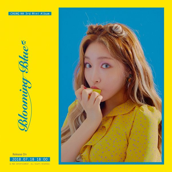 Tags: K-Pop, Kim Chung-ha, English Text, Text: Album Name, Make Up, Fruits, Lemon, Blue Background, Nail Polish, Text: Calendar Date, Yellow Outfit, Yellow Background