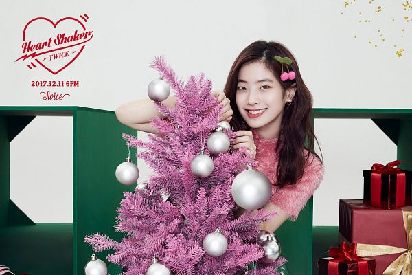 Tags: JYP Entertainment, K-Pop, Twice, Kim Dahyun, Text: Artist Name, Christmas, Text: Song Title, Pink Shirt, Light Background, Christmas Tree, Tree, White Background