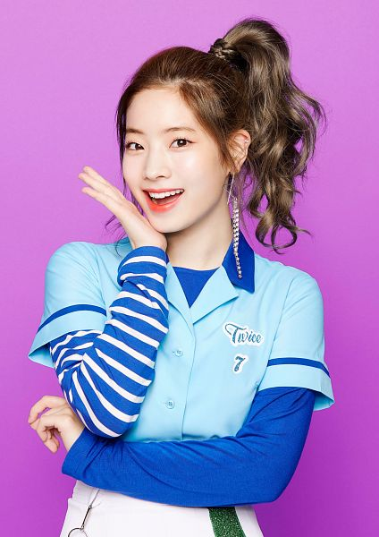 Tags: JYP Entertainment, K-Pop, Twice, One More Time, Kim Dahyun, Crossed Arms, White Pants, Hair Up, Purple Background, Ponytail, Blue Shirt