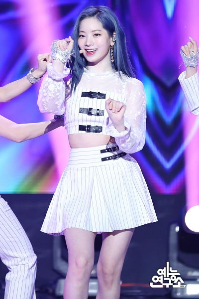 Tags: K-Pop, Twice, Kim Dahyun, Gloves, Bare Legs, Skirt, Striped, Striped Shirt, White Skirt, Midriff, Korean Text, Blue Hair