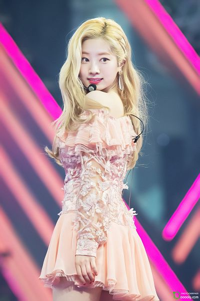 Tags: K-Pop, Twice, Kim Dahyun, Short Dress, Bare Shoulders, Looking Back, Bare Legs, Pink Dress, Frills, Pink Outfit, Ooooly, Live Performance