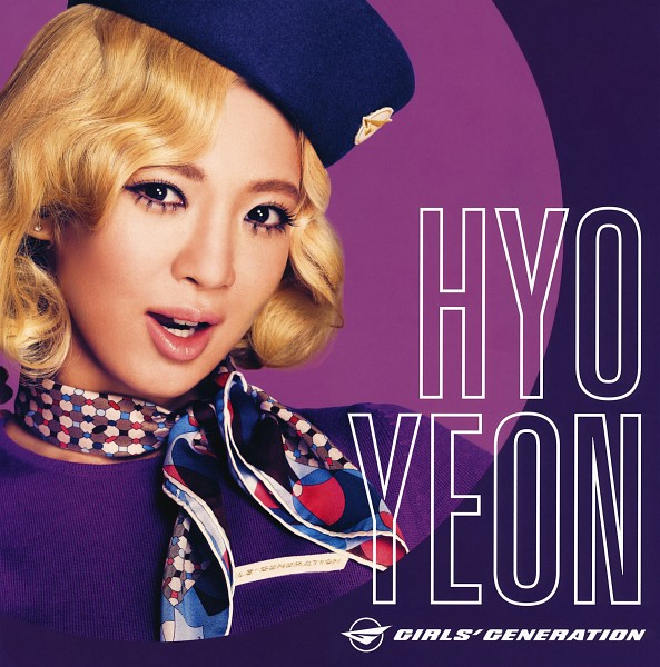 Tags: K-Pop, Girls' Generation, Kim Hyo-yeon, Purple Dress, Medium Hair, Purple Background, Purple Outfit, Wavy Hair, Blue Headwear, Scarf, Hat, Text: Artist Name