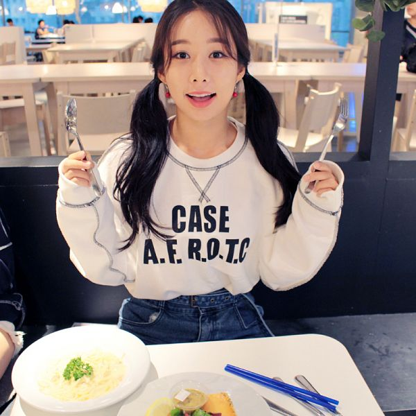 Tags: K-Pop, ICIA, Kim Hyogyeong, Silverware, Twin Tails, Earrings, Pasta, Bent Knees, Table, Sitting, Food