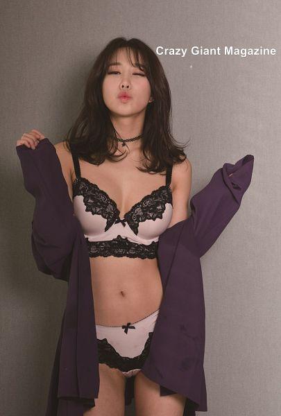 Tags: K-Pop, ICIA, Kim Hyogyeong, Cleavage, Purple Outerwear, Lingerie, Text: Magazine Name, Midriff, Bra, Choker, Purple Jacket, Wink