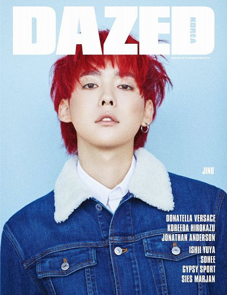 Tags: YG Entertainment, K-Pop, Winner, Kim Jinwoo, English Text, Denim Jacket, Text: Magazine Name, Blunt Bangs, Text: Artist Name, Blue Background, Red Hair, Close Up