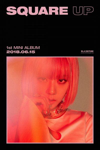 Tags: K-Pop, Black Pink, Kim Jisoo, Choker, Text: Calendar Date, Finger To Lips, Text: Artist Name, English Text, Text: Company Name, Text: Album Name, Blunt Bangs, Wig