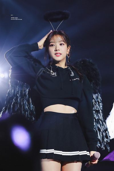 Tags: K-Pop, Black Pink, Kim Jisoo, Skirt, Midriff, Halo, Hair Up, Wings, Hood, Ponytail, Make Up, Hoodie