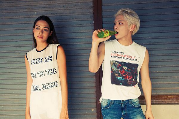 Tags: K-Pop, SHINee, Kim Jonghyun, Jeans, Bare Shoulders, English Text, Duo, Looking At Another, Bottle, Sleeveless Shirt, Sleeveless, Blue Eyes