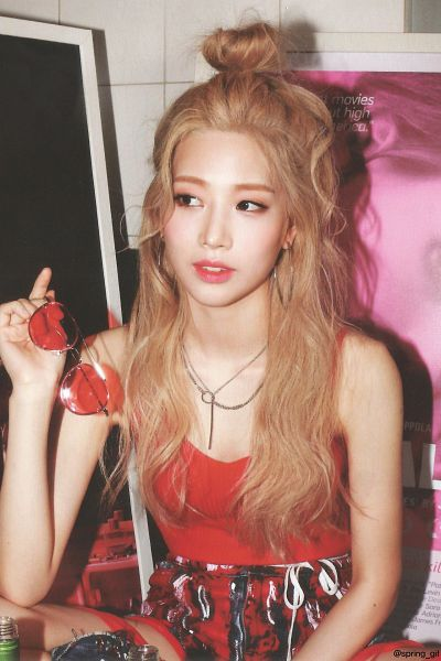 Tags: K-Pop, LOOΠΔ, Eclipse, Kim Lip, Necklace, Red Lips, Hair Up, Sleeveless Shirt, Single Bun, Blonde Hair, Glasses Off, Red Shirt