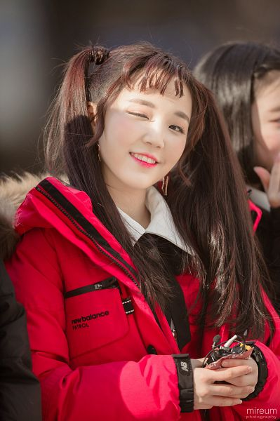 Tags: JTG Entertainment, K-Pop, Busters, Kim Minji (Busters), Wink, Twin Tails, Holding Object, Red Outerwear, Close Up, Red Jacket, Blunt Bangs, Red Lips
