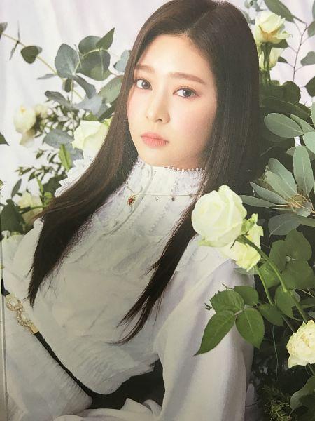 Tags: K-Pop, IZ*ONE, Kim Minju, Rose (flower), Flower, White Flower, White Outfit, Serious, White Dress, Belt, Scan
