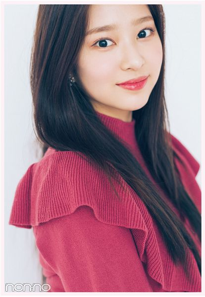 Tags: K-Pop, IZ*ONE, Kim Minju, Light Background, Red Lips, White Background, Black Eyes, Red Dress, Red Outfit, Non-no, Magazine Scan